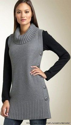 knit tunic for women 8 - moda - Knitting Machine Patterns, Sweater Knitting Patterns, Knitted Poncho, Knitting Sweaters, Long Sweaters For Women, Tunic Pattern, Elegant Outfit, Crochet Clothes, Pulls