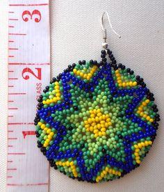 Huichol Star Beaded earrings by Aramara on Etsy