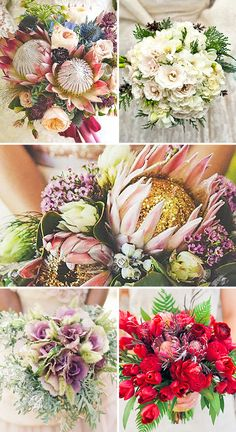 Try to incorporate into beautiful wedding bouquets exotic protea, colorful kale flowers, great combination of pine cones and cotton. Church Wedding Flowers, Yellow Wedding Flowers, Love Birds Wedding, White Wedding Bouquets, Bridal Flowers, Wedding Flower Design, Floral Wedding, Flower Decorations, Unique Weddings
