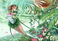superb Sailor Jupiter fanart -- I like the details: roses and other plants for wood-aspect flower-loving Makoto