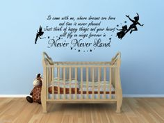 Peter Pan So Come With Me Tinkerbell Childrens Wall Sticker Mural Kids Bedroom