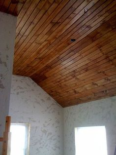 What a beautiful pine ceiling we found from DIYdiva. Prefinished Wood Accents would look great in this same application, in any finish!