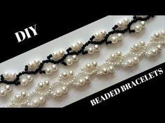 Pearl Beaded Bracelets. Simple beaded pattern -Very Easy Tutorial - YouTube
