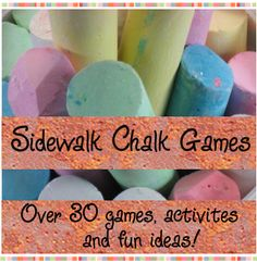Sidewalk Chalk Games - Games to Play with Sidewalk Chalk / Over 30 fun sidewalk chalk games, activites and fun ideas for kids of all ages Craft Activities For Kids, Activity Games, Summer Activities, Projects For Kids, Games For Kids, Crafts For Kids, Babysitting Activities, Kid Games, Family Games