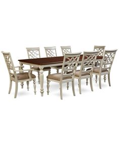 windward 9 pc dining set dining table 6 side chairs 2 arm chairs dining room sets furniture macy s