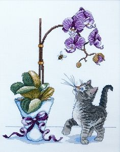 Orchid Kitty Cross Stitch 2546-DW