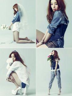 Korean singer Sunhwa from SECRET in a cool bridal editorial