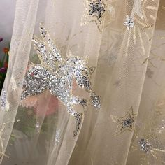 Champagne Gold Pearl Beaded Tulle Fabric 45/'/' PRICE PER METER