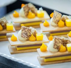 Sable Manjari Chocolate Ganache Praline Sponge Cake Mango gel by Gourmet Desserts, Fancy Desserts, Sweet Desserts, Delicious Desserts, Pastry And Bakery, Baking And Pastry, Dessert Drinks, Dessert Recipes, Chocolat Valrhona