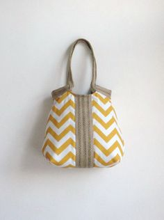 Yellow chevron hobo bag with burlap by madebynanna on Etsy, $62.00