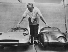General Motors model maker with late '40s(?) concept cars