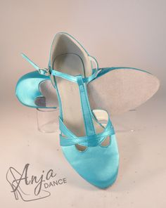 Aqua Satin T-Bar Dance Shoe. Varieyt of heel heights available. Sizes from EU to EU Other sizes available to order. Available in other colours. For current prices and to order visit the website. Bar Dance, Ballroom Dance, Pretty Shoes, Character Shoes, Dance Shoes, Satin, Colours, Website, Lady