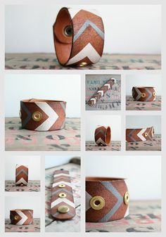 Leather Cuff Bracelet Upcycled Leather Belt by Jolicoeuretcie, $30.00