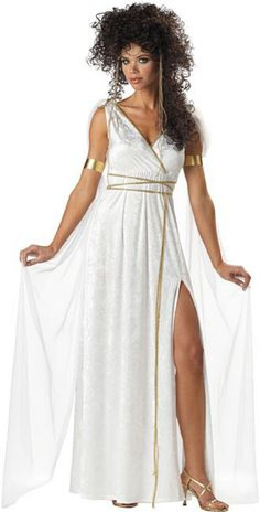 California Costumes Women's Athenian Goddess Costume,White,Medium Includes a beautiful crushed velvet dress with attached veils and gold trim and matching headpiece Greek goddess wig, armbands & sandals not included. Snow White Costume, White Costumes, Adult Costumes, Costumes For Women, Woman Costumes, Couple Costumes, Group Costumes, Goddess Halloween Costume, Greek Goddess Costume