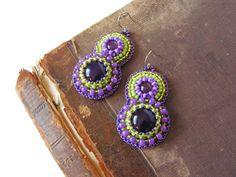 Bead embroidered Earrings Beadwork Earrings Green by MisPearlBerry, $42.00
