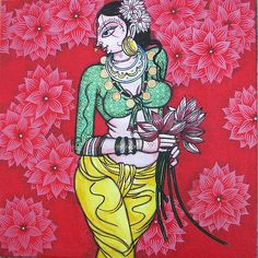 Buy Woman With Lotus artwork number a famous painting by an Indian Artist Varsha Kharatmal. Indian Art Ideas offer contemporary and modern art at reasonable price. Lotus Artwork, Lotus Painting, Woman Painting, Indian Women Painting, Indian Art Paintings, Acrylic Paintings, Madhubani Art, Madhubani Painting, Indian Folk Art