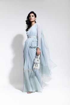 Buy online Sarees - Peplum blouse with ruffled saree and embellished belt from Ridhi Mehra Drape Sarees, Saree Draping Styles, Saree Styles, Indian Dresses, Indian Outfits, Eid Dresses, Saree With Belt, Saree Belt, Saree Gown