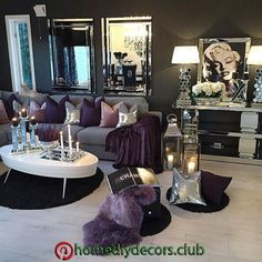 Apartment Living Room Ideas To Inspire Your Design Glam Living Room, Living Room Decor Cozy, Elegant Living Room, New Living Room, My New Room, Decor Room, Living Room Decor Silver, Modern Living, Black And Silver Living Room