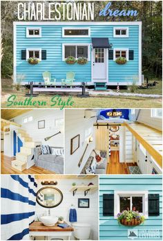 """For Sale! This tiny house was featured on """"Tiny House Big Living"""" Season 7, Episode 7. Check it out on DIY Network or Amazon! The Marion is a 320 square foot tiny house built in Charleston County, South Carolina. This tiny house was built with comfort, functionality, and style in mind, featuring an open-concept living area with a love seat and foldable desktop or bench and a full kitchen."""
