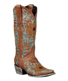 Tan Sunflower Cowboy Boots