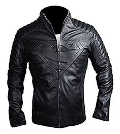 Clark Kent Smallville Superman Black Quilted Style Men's Leather Jacket: Amazon.co.uk: Clothing