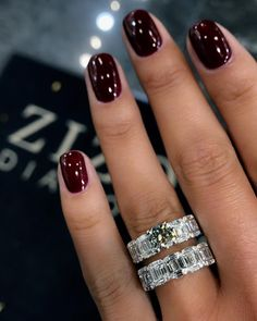 French manicure with diamonds wedding bands ideas