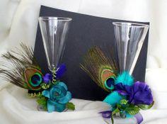 Peacock Wedding Dress | Peacock Wedding toasting Flute Tie Ons Wedding Bride Groom Glasses ...