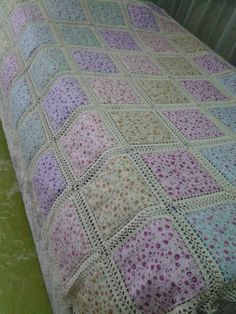 Love this sweet idea for patchwork and lace tablecloth. Crochet and fabric quilt – Artofit This Pin was discovered by She Crochet Bedspread Pattern, Crochet Fabric, Thread Crochet, Crochet Blanket Patterns, Baby Blanket Crochet, Quilt Patterns, Crochet Cushion Cover, Crochet Cushions, Diy Crafts Crochet