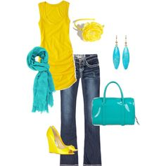 Neon yellow and blue