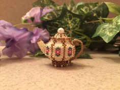 """My own pattern for a teapot, 8 sided instead of 6. So tiny! 1 1/2"""" tall."""