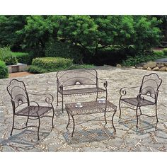 Lounge in style with this four-piece iron patio furniture set by Sun Ray. Available in a hammered copper finish, this set includes a loveseat, table, and two chairs that are perfect for a day of relaxation on your patio, porch, or pool area.