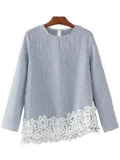 In the spring of 2017 new European style fashion female striped stitching lace shirt all-match thin blouses European Fashion, European Style, Spring Tops, Comfy Casual, Affordable Clothes, Blouse Designs, Clothes For Women, My Style, Style Fashion