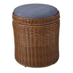 Great Hampton Bay Spring Haven Brown All Weather Wicker Patio Storage Stool With  Sky Blue Cushion