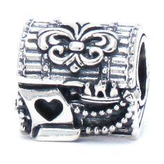 BELLA FASCINI® Treasure Chest Fleur de Lis Bead Charm 925 Sterling Silver Fits Pandora Troll & Compatible: Jewelry
