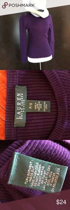 """Lauren Ralph Lauren Purple Sweater w/ Buckles This is an awesome Lauren Ralph Lauren piece. A beautiful sweater with stylish buckles on the shoulder! It is used but has life left. Please look at closeups for the color & signs of wear. Bundle for additional discounts & as always I am open to offers! Flat Lay Measurements: Shoulder seam to shoulder seam: 16"""" Chest (Widest point across chest when flat): 15"""" Length (Highest point on collar to bottom hem): 22"""" Sleeve: 23"""" Lauren Ralph Lauren…"""