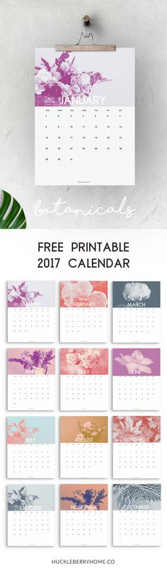 Free Botanicals Printable Calendar 2017 | Free Calendar | Free Printable Calendar