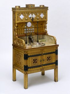Vita Nova Washstand, William Burges circa 1880. Victorian furniture styles - Victoria and Albert Museum