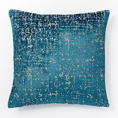 Jacquard Velvet Allover Textured Pillow Cover - Blue Teal #westelm