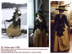 Green and yellow end of the 19th century's dress     http://tempsdelegance.com