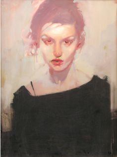 Artist: Michael Carson, b. 1972, oil on canvas; Minneapolis, MN {contemporary figurative female head woman face portrait painting}
