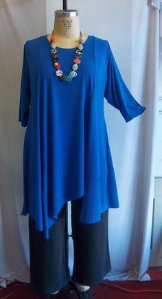 Coco and Juan Plus Size Asymmetric Tunic  Top Royal by COCOandJUAN, $36.00