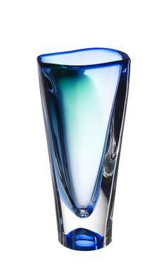 Verde vase blue, design by Göran Wärff for Kosta Boda