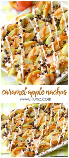 Delicious Caramel Apple Nachos - a quick and delicious treat perfect for movie night or your next party. Recipe includes apples, caramel, vanilla candy coating, mini chocolate chips, and heath toffee bits. Apple Nachos, Yummy Treats, Delicious Desserts, Dessert Recipes, Yummy Food, Mexican Desserts, Party Recipes, Oreo Dessert, Apple Recipes