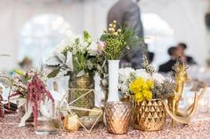 Loving the centrepiece clusters this bride put together atop glittering table runners. Centerpiece Decorations, Wedding Centerpieces, Centrepiece Ideas, Centrepieces, Table Runners, Real Weddings, Bridesmaid, Detail, Awesome