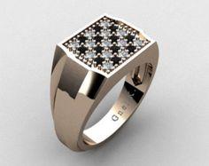 16750b3dde81 Artículos similares a Hombre moderno 14K oro rosa Micro Pave negro diamante  anillo del diseñador R326M-14KRGBD en Etsy. SortijasOro PlataJoyas De ...