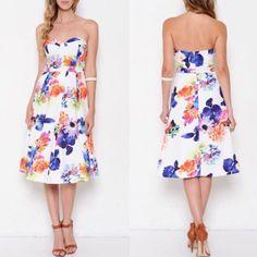 Strapless Midi Floral Dress