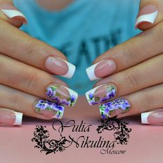 Blue flowers nail art, flower nail art, French manicure with flowers, Ideas of summer french nails, Manicure 2017, Nails trends 2017, Spring french manicure, White French nails