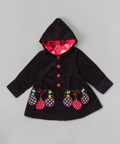 Another great find on #zulily! Black Ornament Appliqué Hooded Jacket - Toddler & Girls #zulilyfinds