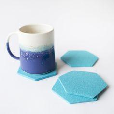 Turquoise Hexagon Coasters via A Mano