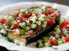 "Greek Grilled Eggplant Steaks (Meatless Marvels) - ""The Pioneer Woman"", Ree Drummond on the Food Network. Steak Recipes, Grilling Recipes, Vegetable Recipes, Cooking Recipes, Barbecue Recipes, Veggie Food, Vegetarian Grilling, Vegetarian Recipes, Healthy Recipes"
